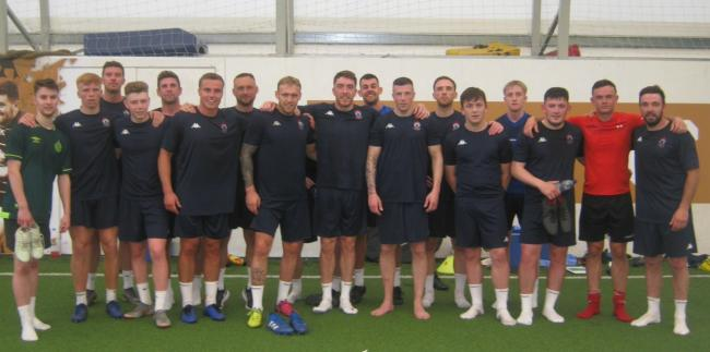 Colwyn Bay FC's squad following their pre-season session (Photo by Tim Channon)