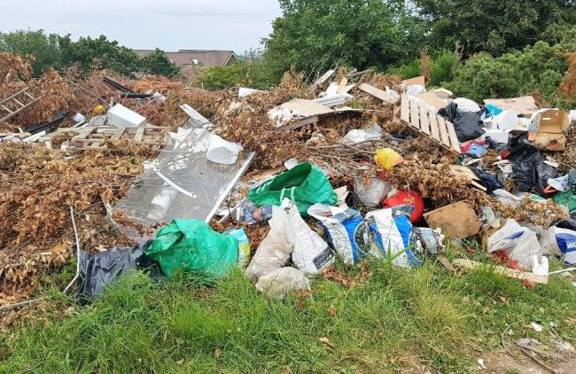 The rubbish has been dumped at a location off Llanrwst Road. Picture: NWP Rural Crime Team/Twitter