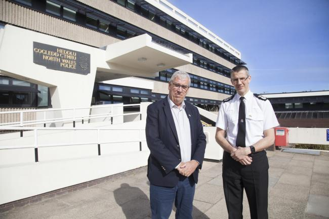 North Wales Police's police and crime commissioner Arfon Jones and chief constable Carl Foulkes at the force's Colwyn Bay headquarters.