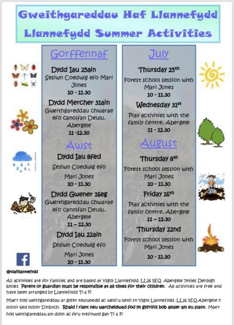 Llannefydd Summer Children's Activities