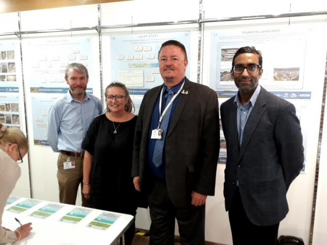 Owen Conry, principle engineer, Aly Shields of Restore Our Beach, cllr Greg Robbins, and Ryan Rooprai, design project manager at the drop in session. Picture: Kerry Roberts