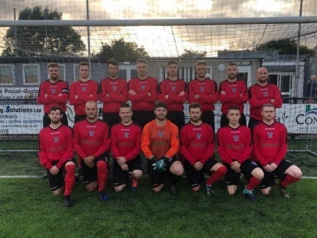 Llandudno Amateurs line up before their league opener against Gwalchmai