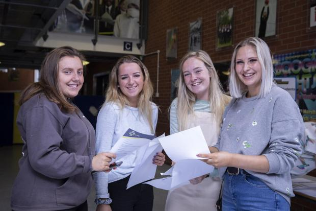North Wales Pioneer: Looking happy with their results, from left, Beth Roberts, Faye Shotter, Gabriella Williams and Orla Cox.: Picture: Mandy Jones