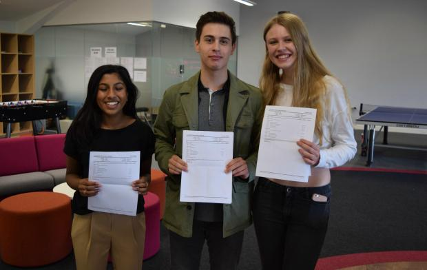 North Wales Pioneer: Gowri Pradeep, Nick Fiorita and Imogen Camp with their results