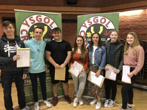 North Wales Pioneer: Happy Ysgol y Creuddyn pupils with their results