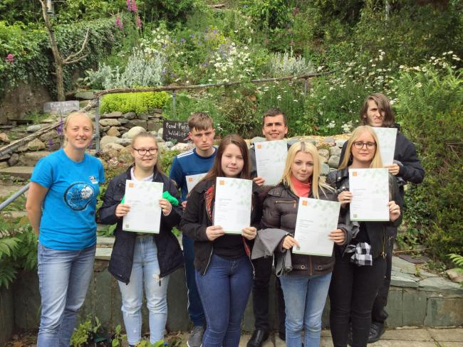 Students from Coleg Llandrillo's Independent Living Skills department with their awards