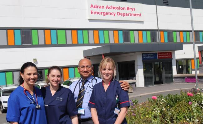 Amanda Azzopardi, Advanced Nurse Practitioner, Sister Laura Evans, Consultant Dr Vanett Khanna and Matron Lisa Morris at the new SDEC at Glan Clwyd Hospital