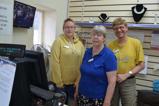 Sam Perkins, Ann Louise Bates and Lorne Pearce, volunteers at the Craig y Don Shop