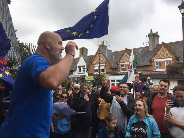 North Wales Pioneer: Jason Edwards addressing the demonstration