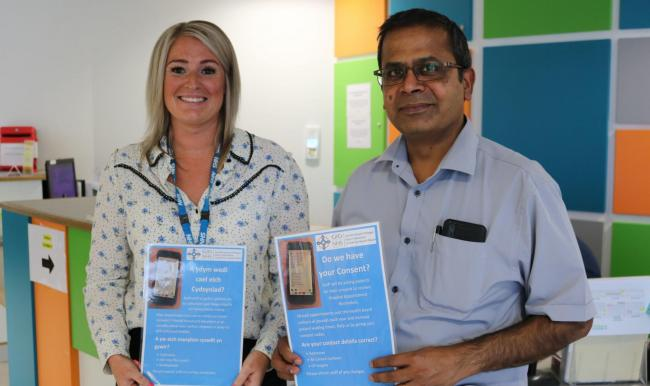 Wendy Hughes, Project Lead for the Hospital Reminder Service and Dr Sakkarai Ambalavanan, Consultant Physician in Respiratory Medicine at Glan Clwyd Hospital who are encouraging the public to opt-in to the improved hospital reminder service