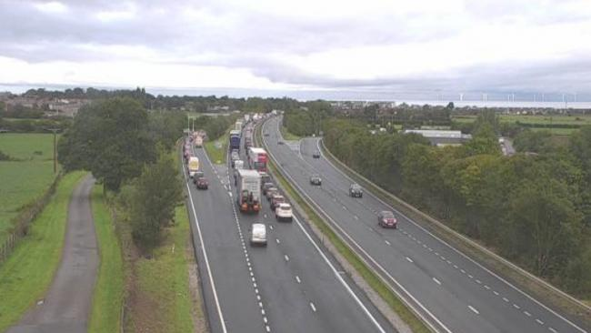 Traffic build ups heading West near junction 24 Abergele this morning. Picture: Twtter/ North & Mid Wales