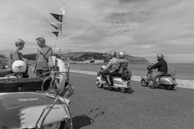 An image of Mods on Llandudno promenade by Haydn Denman