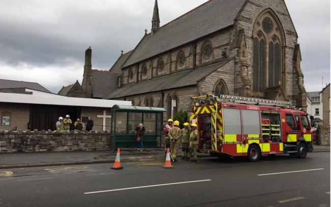 One of the fire engines at St Paul's Chruch. Picture: Chris Dearden
