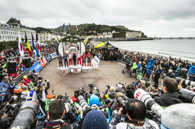Racers on the podium in Llandudno.