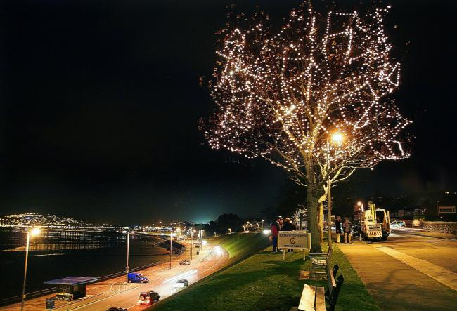 A previous tree of lights at Rhos-on-Sea