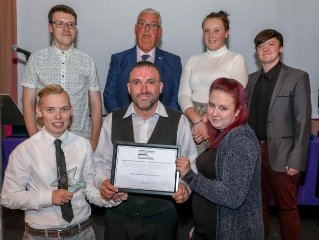 North Wales Police and Crime Commissioner Community Awards..Winners of the Rehabilitation Award were Scott Jenkinson and Youth Shedz Cymru, pictured with North Wales Police Commissioner Arfon Jones are, from left, back, Roman Parker, Jasmine Chambers, Cai