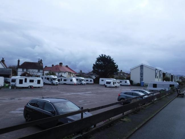 Travellers have set up a camp at the llandudno Carpark on Gloddaeth Street