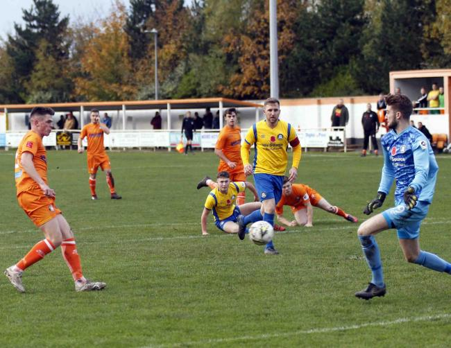 Craig Whelan opens the scoring for Conwy Borough (Photo by Dave Thomas)