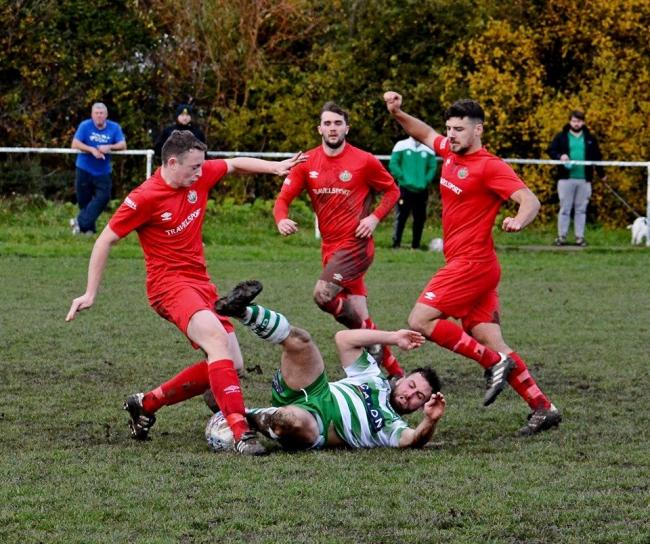 Action from Glan Conwy's defeat to Denbigh Town (Photo by Steve Whitfield)