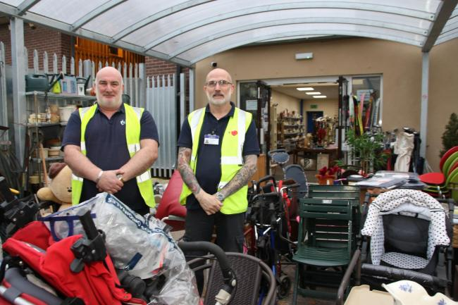Reuse Shop staff Paul Hughes and David Jones. Picture: Kerry Roberts