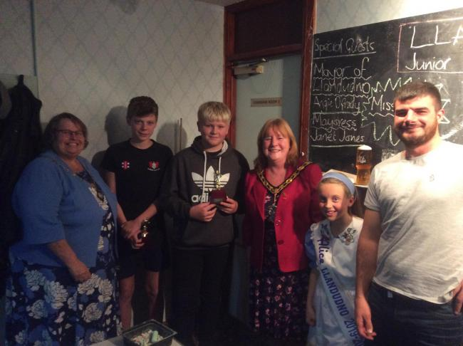 Llandudno Cricket Club bowler Tom Thornton was on hand to present the prizes