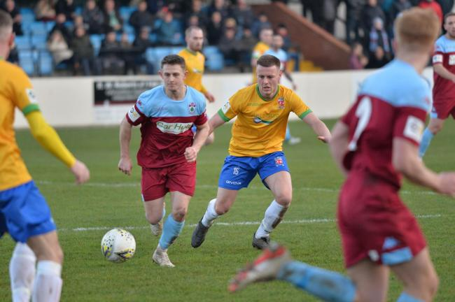 Action from Colwyn Bay's defeat to Prestatyn Town (Photo by John Pickles)