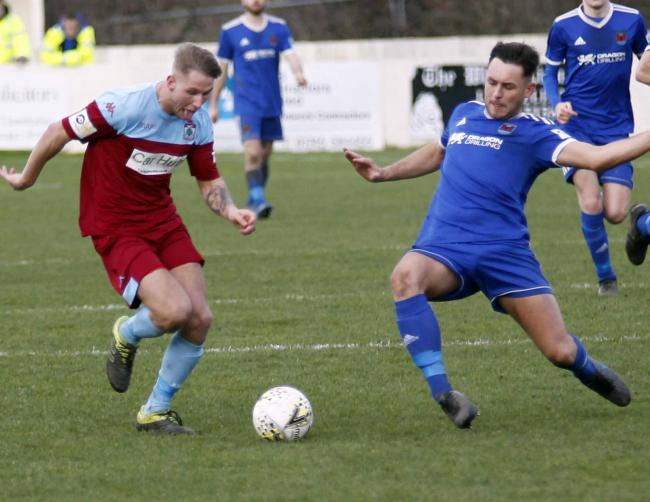 Callum Parry in action for Colwyn Bay against Ruthin Town