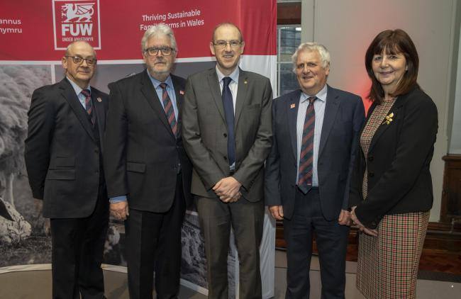 From left: FUW Insurance Services Ltd managing director Roger Van Praet, FUW managing director Alan Davies, Llyr Gruffydd AM, FUW president Glyn Roberts and Minister for Environment, Energy and Rural Affairs Lesley Griffiths AM. Picture: HUW JOHN, Cardiff
