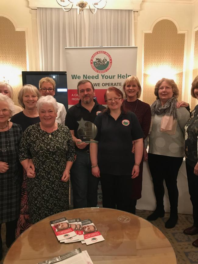Llandudno Women's group with the Blood Bike Wales representatives