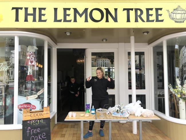 Karen Thompson owner of the The Lemon Tree cafe in Llandudno gave away her cakes following the government's closure order.