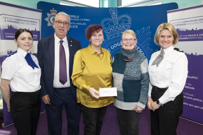 Your Community Your Choice Awards, from left, PCSO Sara Owen, North Wales Police and Crime Commissioner Arfon Jones, Penny Andow and Jo Pugh, of Conwy's Llanfairfechan Foodbank, and Assistant Chief Constable Sacha Hatchett.