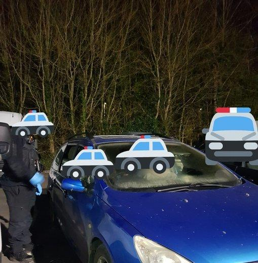 Members of three households in one car stopped by police. Image: Brecon Roads Policing Unit