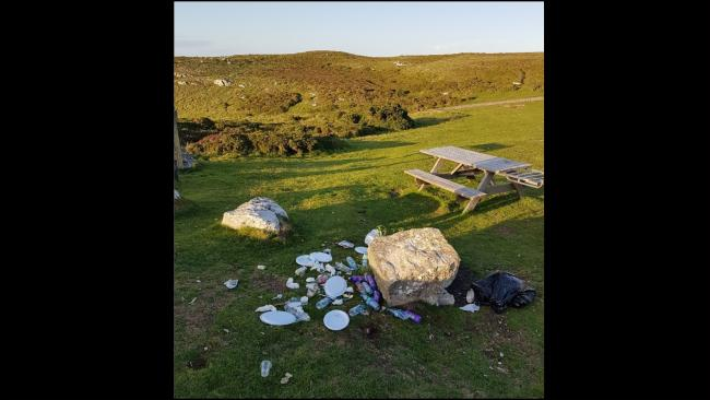Large amounts of litter have been left on the Great Orme. Picture: Twitter/ NWP West Conwy Coastal