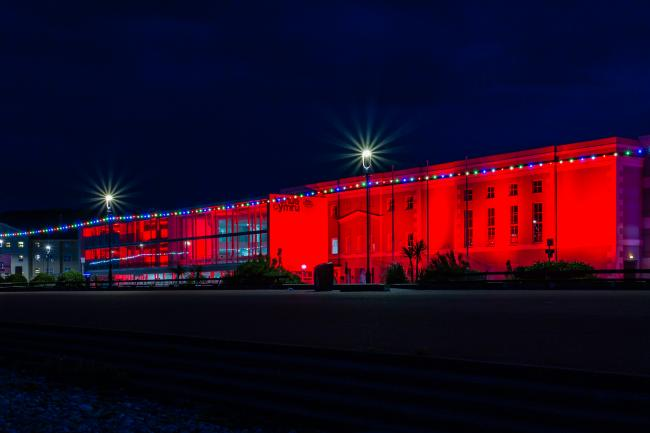 Venue Cymru 'Standing By Ready' in red to reopen. Picture: Paul Sampson