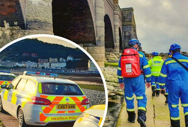 Police at Llandudno and the rescue under the viaducts at Pen y Clip. Pictures: Llandudno Coastguard