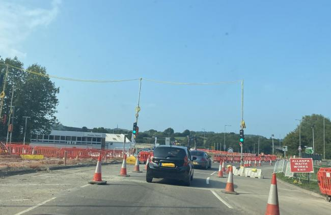 The temporary traffic lights at the Black Cat roundabout will become permanent. Picture: Suzanne Kendrick