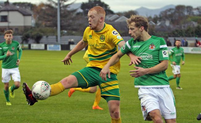 Sion Bradley set-up Caernarfon Town's only goal