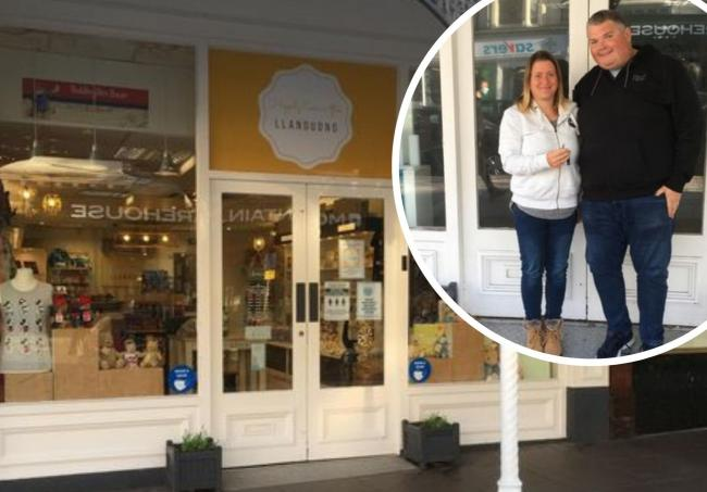 The shop front in Llandudno and Amy and her husband Jake
