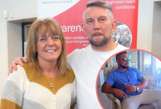 Adrian Standerwick with wife Debbie and below, Sam who sadly died in 2016
