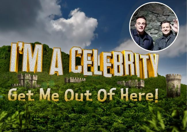 I'm A Celebrity logo ITV and Ant and Dec give a special message to fans in Abergele. Pictures: ITV and Gwrych Castle