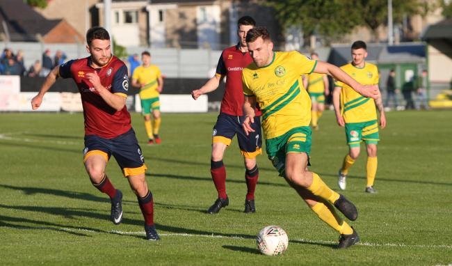 Danny Brookwell in action for Caernarfon Town (Photo by Richard Birch)