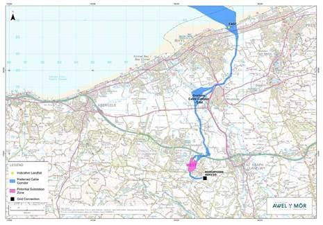 North Wales Pioneer: The preferred locations for the onshore cable corridors leading to the substation in Bodelwyddan.