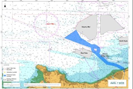 North Wales Pioneer: The proposed offshore cable corridors for the Awel y Mor Offshore Wind Farm