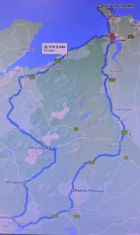 The 98-mile route which the group is preparing to tackle in September.