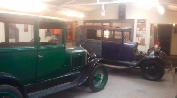Both of Mr Dyche\s Ford cars which he intent on restoring at the shed Picture: In planning documents (clear for use by all partners)