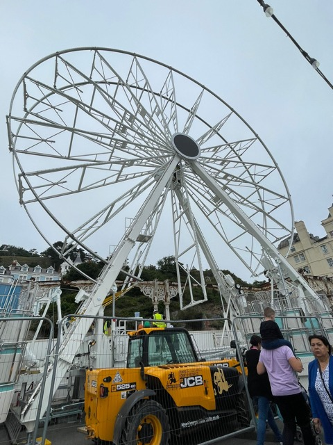 The Ferris wheel is almost fully constructed on Llandudno Pier, with gondolas soon to be added.