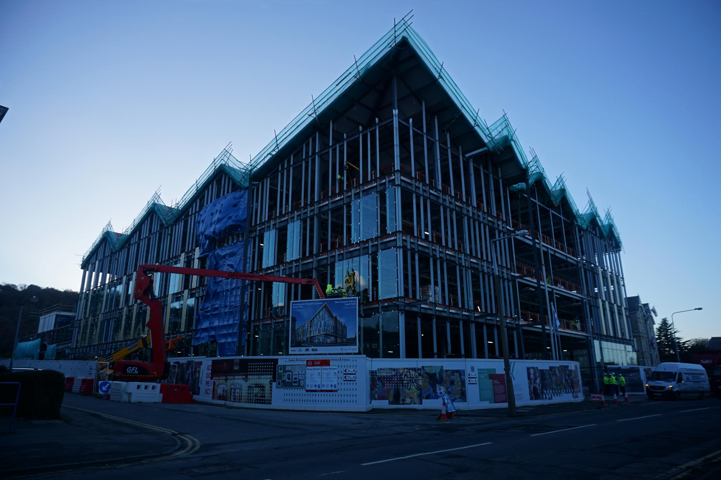 Construction is well underway on the new council building in Colwyn Bay. Picture: Patrick Glover