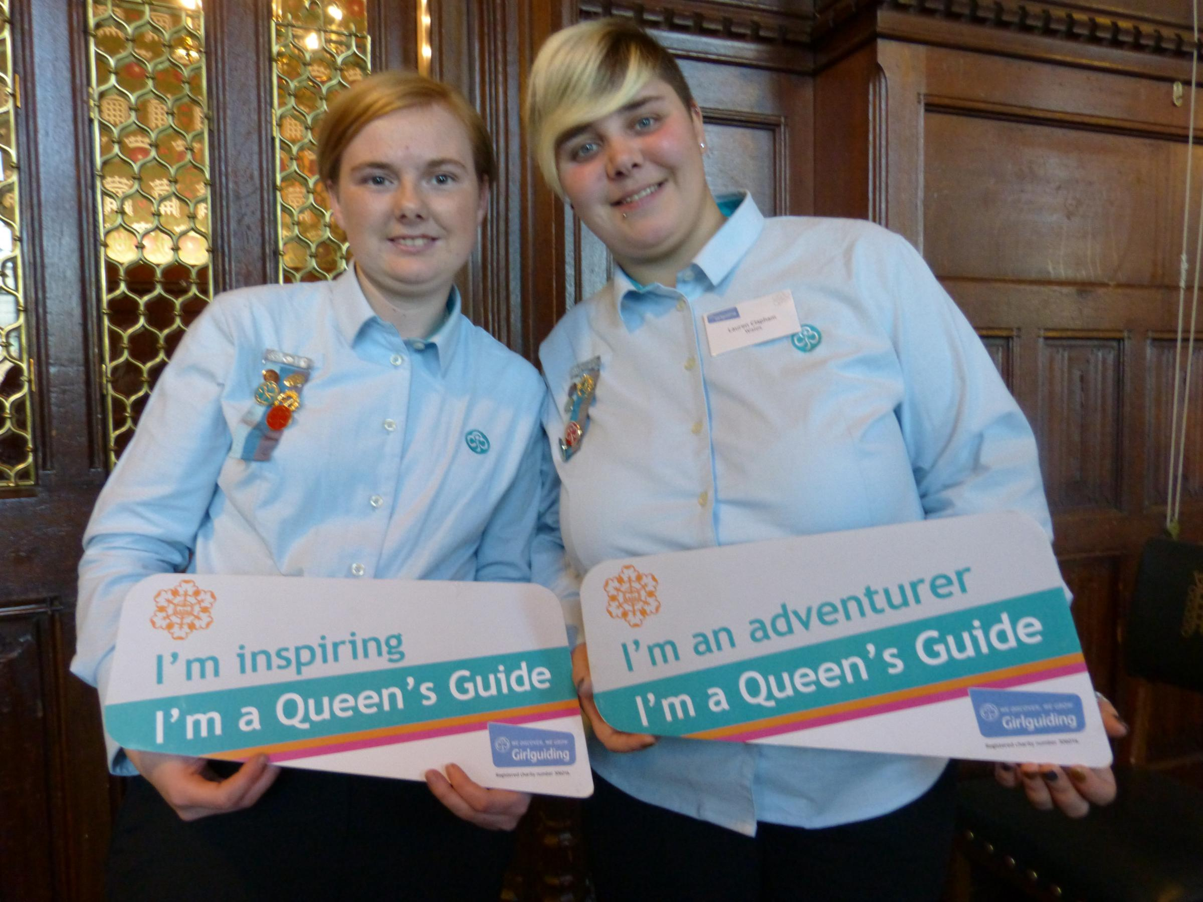 Girl Guides House of Commons Award, from left to right Lyndsey and Lauren