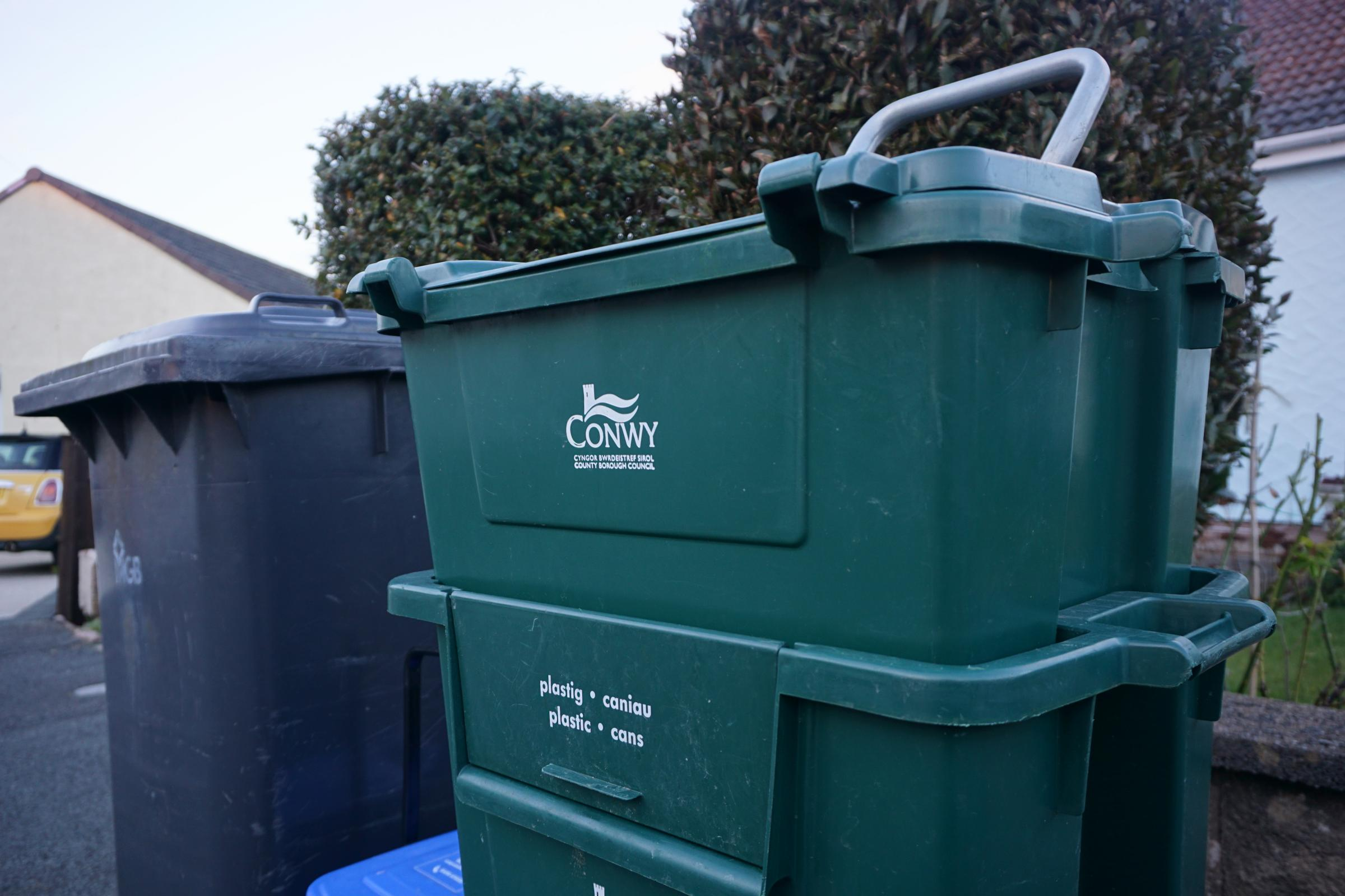 Conwy County Borough Council bins. Picture: Patrick Glover