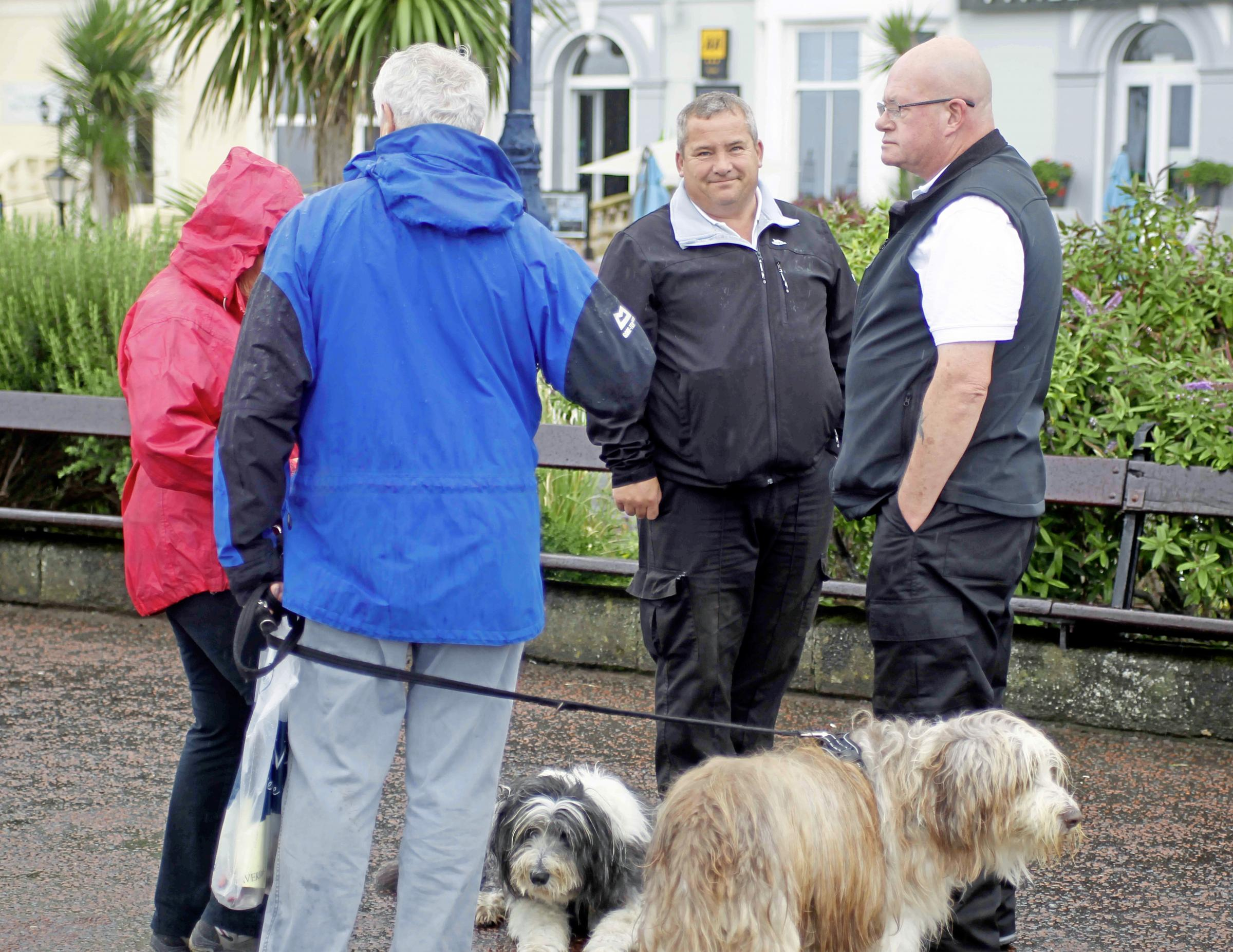Kingdom security workers talking to protestors in Llandudno last year. Picture: David Thomas